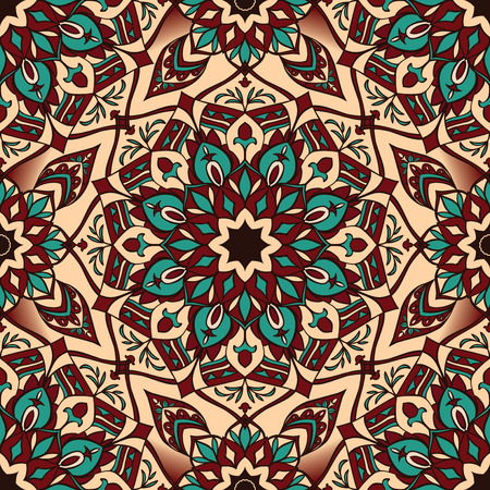 Oriental, ornate, geometric design. Seamless vector ethnic ornament. African stylized pattern on traditional elements. Template for fabric.