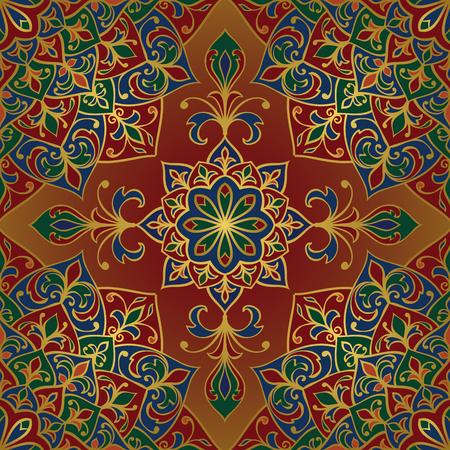 Seamless, vektor, helles Muster. Orientalisch Ornament mit goldenen Kontur und bunte Details zu Rot und Gold Hintergrund. Vorlage für Teppich. Vektorgrafik