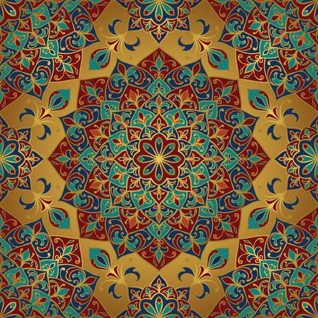 Nahtlose Vektor-reiche Muster. Orientalische Verzierung mit Gold Kontur und bunten Details auf Goldgrund. Vorlage für Textil. Standard-Bild - 45354819