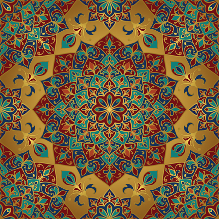 Seamless vector rich pattern. Oriental ornament with gold contour and colorful details on gold background. template for textile.