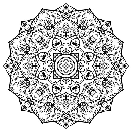 stencil art: Vector, oriental mandala of black lines, isolated on white background. Sketch of tattoo. Round stylized ornament. Template for any surface.