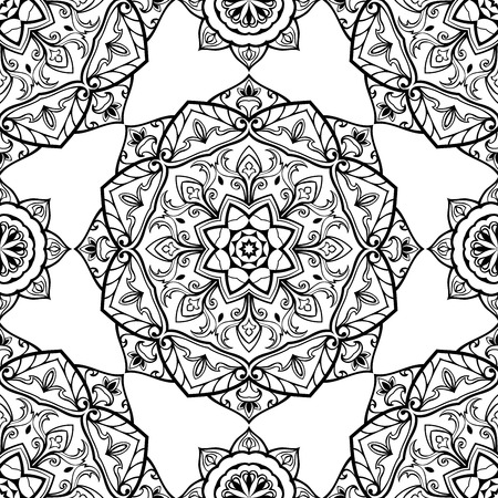 islamic pattern: Seamless vector black and white background. East ornament of mandalas. Medieval pattern of round elements. Template for the textile. Illustration