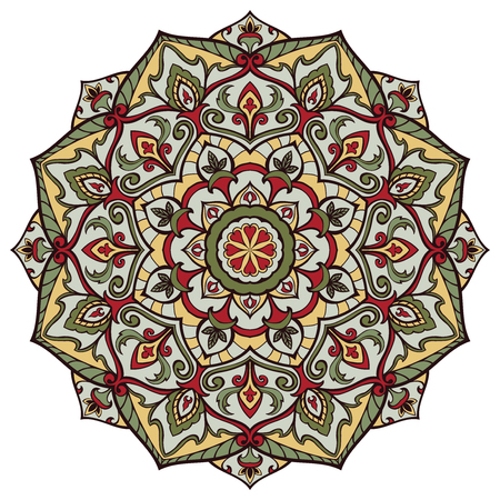 ethnicity: Ethnicity round pattern in shades of c. The element of traditional ornament. Bright elegance mandala.