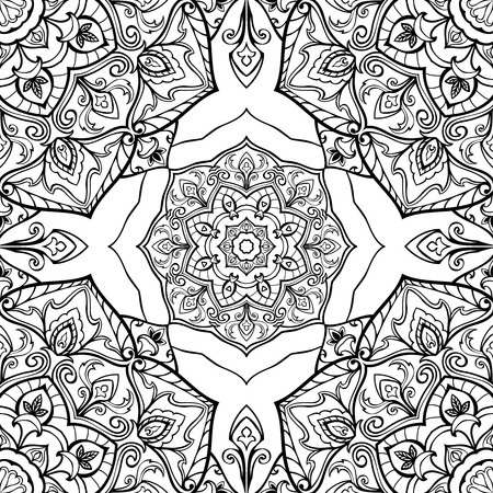 tapestry: Seamless vector black and white background. Oriental ornament of mandalas. Medieval pattern of circular elements. Template for the tapestry.