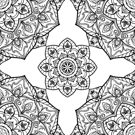 oriental rug: Seamless vector ornate background. Oriental ornament of mandalas. Medieval pattern of circular elements. Template for the rug.