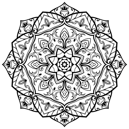 Vector, oriental mandala of black lines, isolated on white background. Sketch of tattoo. Circle medieval ornament. Template for any surface. 矢量图像