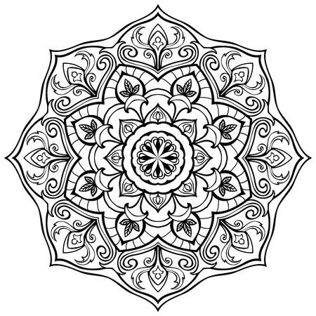 eleganz: Vector, Eleganz Mandala aus schwarzen Linien, isoliert auf weißem Hintergrund. Skizze der Tattoo. Runde stilisierte Ornament. Vorlage für die Oberfläche.