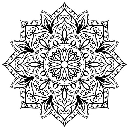 Vector, flower mandala on a white background. Stylized medieval round ornament. The circular element of the decor. Template for any surface. Sketch of tattoo.