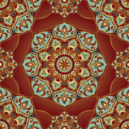 traditional pattern: Traditional ornamental pattern on a red background. Oriental, seamless, vector ornament with mandalas. This pattern can be used for the design of the carpet, shawl, wallpaper, tiles, cushion.
