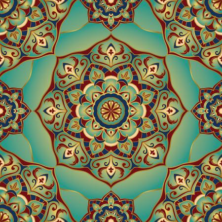 伝統的な装飾的なパターン。マンダラと東洋、シームレス、ベクトルの背景。このパターンは、カーペット、ショール、壁紙、タイル、クッション