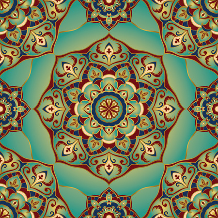 Traditional ornamental pattern. Oriental, seamless, vector background with mandalas. This pattern can be used for the design of the carpet, shawl, wallpaper, tiles, cushion.