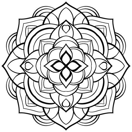 색칠하기 책에 대 한 벡터 만다라입니다. 흰색 배경에 검은 라인의 간단한 원형 패턴. 스테인드 글라스에 대 한 템플릿입니다. 귀영 나팔의 스케치. 일러스트