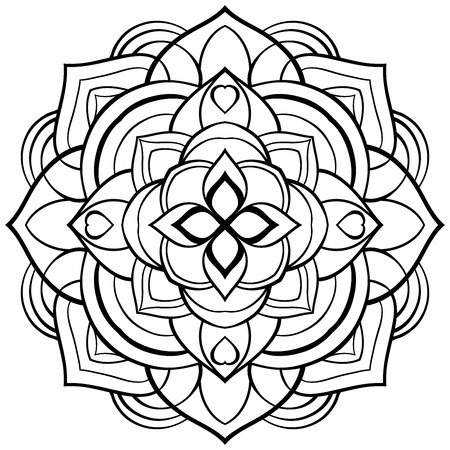 Vector mandala for coloring book. Simple circular pattern of black lines on a white background. Template for stained glass. Sketch of tattoo.