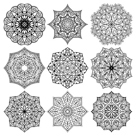 white star line: Set of mandalas. Collection of stylized stars and snowflakes. Vector round ethnic ornaments. Template for embroidery.  Sketches for tattoo. Architectural decorative details.