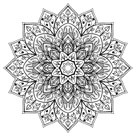 Vector, flower mandala on a white background. Round design element.