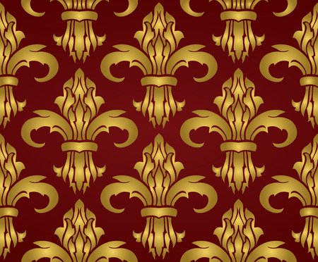 red wallpaper: Classic rich seamless design with damask. Vector gold pattern on a red background. Stylized medieval ornament.