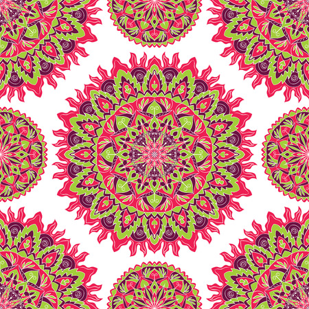 bedding: Vector seamless ornament. Oriental pattern of bright colorful mandala on a white background. Template for carpet, shawl, wallpaper, wrapping paper, cushions, bedding.