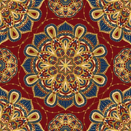 Naadloze, vector, helder, sierlijke patroon met mandala's. Sjabloon voor textiel, sjaal, tapijt, bandana, tegels. Oosters ornament met gouden rand. Stockfoto - 49561965