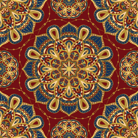 Seamless, vector, bright, ornate pattern with mandalas. Template for textiles, shawl, carpet, bandana, tile. Oriental ornament  with gold border. Vectores
