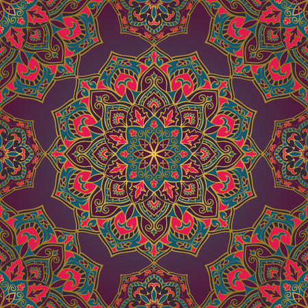cushions: Bright, colorful, oriental ornament of mandalas. Vector seamless pattern with gold outline. Template for design shawls, carpets, wallpaper, cushions, bedspreads.