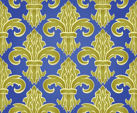 lilia: Classic rich seamless design with damask. Vector gold pattern on a blue background. Stylized medieval ornament. Pattern for wallpaper, carpet, shawl, tile.