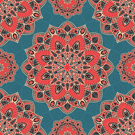 Color vector seamless pattern of mandalas. Abstract oriental ornament on a blue background. Template for design shawls, carpets, bedspreads. 矢量图像