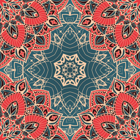 Color vector seamless pattern of mandalas.  Oriental ornament on a blue background. Template for design shawls, carpets, textiles. 일러스트