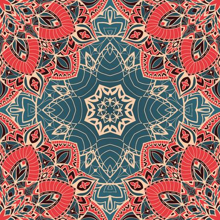 Color vector naadloos patroon van mandala's. Oosterse ornament op een blauwe achtergrond. Sjabloon voor het ontwerp sjaals, tapijten, textiel.