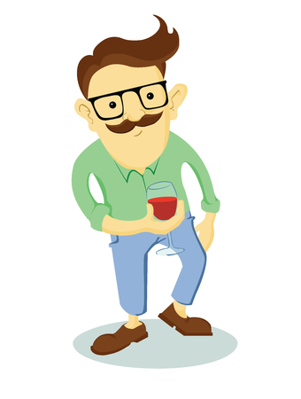 men shirt: Hipster with a glass of wine in hand. Fashionable man with a mustache. Cartoon guy isolated on a white background.