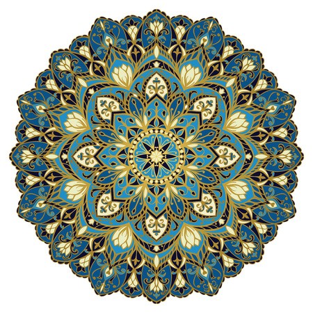 Vector ornate mandala in blue tones. Oriental floral round ornament. The pattern for embroidery, textiles, walls and every surface.