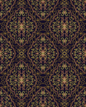 Colorful, floral ornament. Template for oriental carpets, textiles, shawl and any surface. Seamless vector pattern of gold contours on a blue background.
