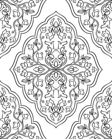 Oriental, floral ornament. Templates for carpets, textiles and any surface. Seamless vector pattern of black contours on a white background. 矢量图像