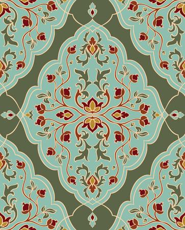 textil: , El ornamento floral suave. Plantilla para alfombras orientales, textiles, chal y cualquier superficie. Sin fisuras vector patrón de curvas de nivel de oro sobre un fondo verde.