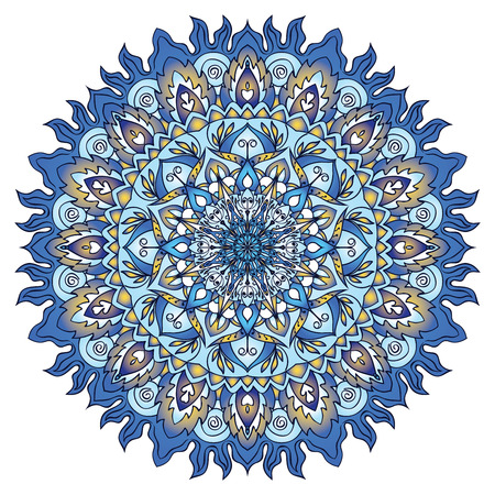 openwork: Openwork vector mandala. Round hand-drawn pattern in yellow and blue tones. Colorful, bright print.