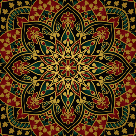 tapestry: Elegant, vector background with oriental ornament of mandalas. Floral, vintage, rich stylized pattern. Template for the carpet, tapestry, shawl, carpet.