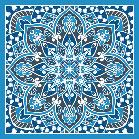 tapestry: Elegant, vector background with oriental ornament of mandalas. Floral, vintage, blue stylized pattern. Template for the carpet, tapestry, shawl, carpet.