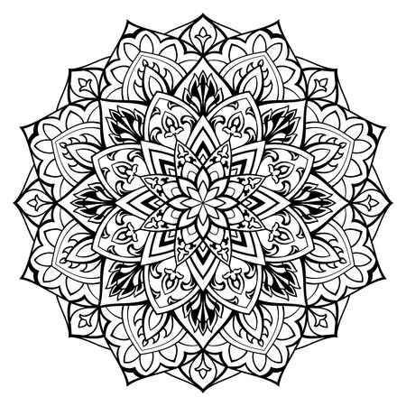 Elegant, vector, abstract mandala with thin lines. Round  oriental pattern. Template for any surface. The stylized  black-and-white ornament. Sketch for tattoo.