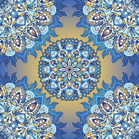 azure: Colorful seamless pattern of mandalas. Vector oriental ornament on a blue tones. Template for  wallpaper, wrapping paper, cushions, textiles, carpet, tile, shawl. Illustration