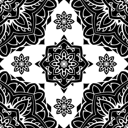 middle: Seamless, folk, graphic pattern of mandalas on a white background. Vector elegance ornament. Black stencil for any surface.
