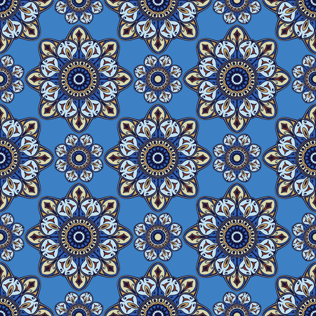 bedspread: Seamless vector pattern of mandalas. Oriental ornament with dark blue contour on a light blue background. Colorful template for fabrics, textiles, shawls, carpets, bedspreads, wallpaper.
