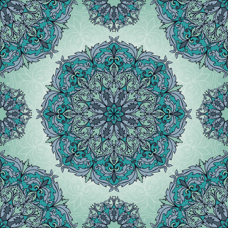 carpet: Seamless vector blue background with round element.