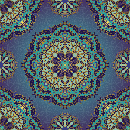 Seamless vector blue background with round element. Rich ornament with mandalas. Template for fabric, wallpaper, textiles, bedcover, carpet, tile, shawl, cushion. Stylized colorful baroque pattern. 矢量图像