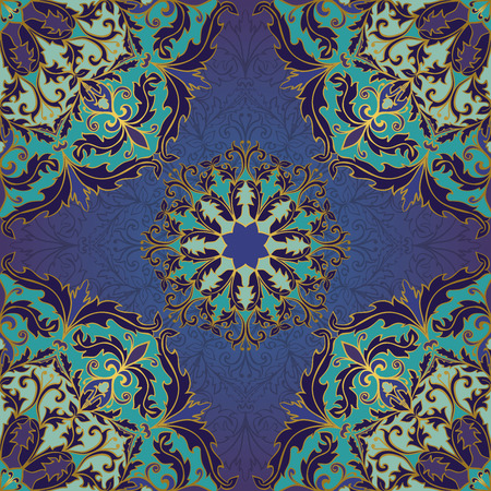 bedcover: Seamless vector blue background with round element. Chic ornament with mandalas. Template for fabric, wallpaper, textiles, bedcover, carpet, tile, shawl, cushion. Stylized colorful baroque pattern. Illustration