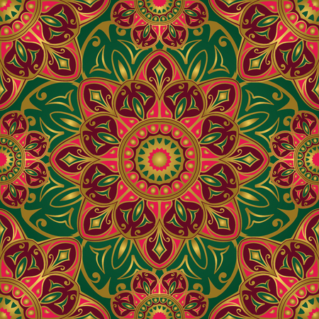 middle: Seamless vector bright pattern of mandalas. Oriental ornament with gold contour on a green background. Colorful template for fabrics, textiles, shawls, carpets, bedspreads, wallpaper, cushions. Illustration
