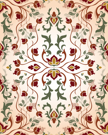 medieval: Romantic, floral ornament. Template for oriental carpet, textile, shawl and any surface. Seamless vector  vintage pattern of elegant tracery on a beige background.
