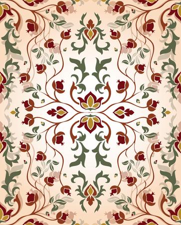 Romantisch, bloemen ornament. Sjabloon voor oosterse tapijten, textiel, sjaal en elk oppervlak. Naadloze vector vintage patroon van elegante tracery op een beige achtergrond.