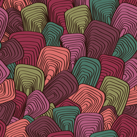 lapiz y papel: Abstract seamless vector background. Psychedelic vintage pattern. Ornament in style of the sixties. Template for fabric, wallpaper, textiles, blankets, carpets. Vectores