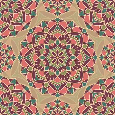 cushions: Seamless vector pattern of simple mandalas. Vintage geometric ornament. Template for textiles, cushions, shawl, carpet, wallpaper. Illustration