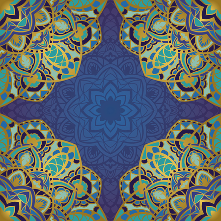 bedcover: Seamless vector indigo background with round element. Rich ornament with mandalas. Template for fabric, wallpaper, textiles, bedcover, carpet, tile, shawl, cushion. Stylized colorful pattern.