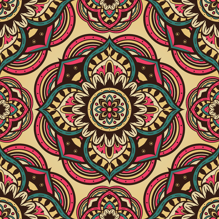 linens: Seamless ornate pattern of the mandalas on a yellow background. Vector vintage ornament with round decorative elements. Template for shawls, carpets, textiles, linens. Illustration